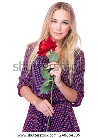 Portrait of attractive gentle woman with beautiful red rose isolated on white background, receive gorgeous flower on Valentine day - stock photo