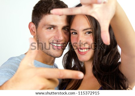 Portrait of attractive girl and her boyfriend - stock photo