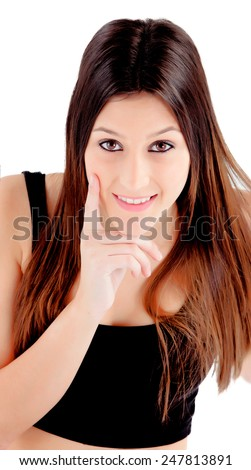 Portrait of attractive girl with brown eyes thinking isolated on a white background - stock photo