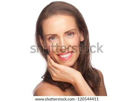Portrait of attractive groomed middle-aged woman with healthy smooth skin, isolated on white background - stock photo
