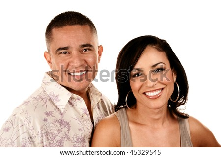 Portrait of Attractive Hispanic Couple on White Background - stock photo