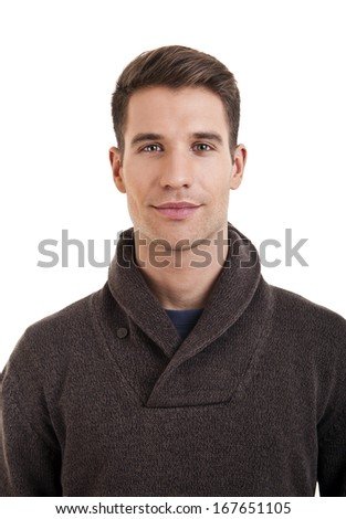 Portrait of attractive male in casual clothes looking at camera with smile