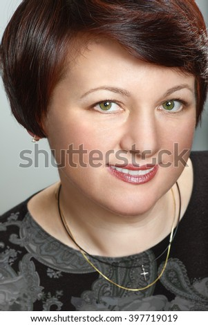 portrait of attractive mature woman - stock photo