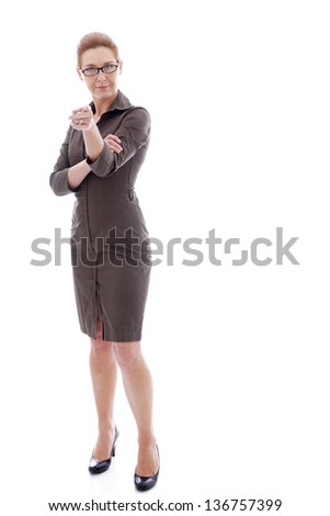 Portrait of attractive mature woman wearing a wedding ring with her hand to her face isolated on white - stock photo