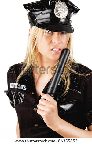 Portrait of attractive policewoman, isolated on white