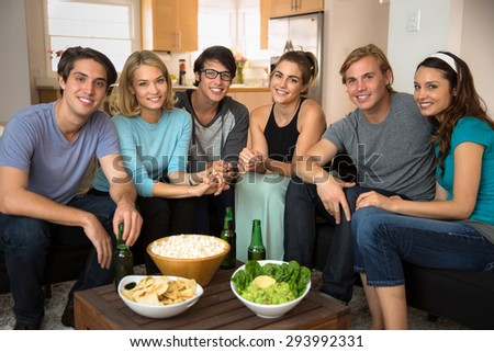 Portrait of attractive pretty people smiling with perfect teeth and beautiful smiles - stock photo