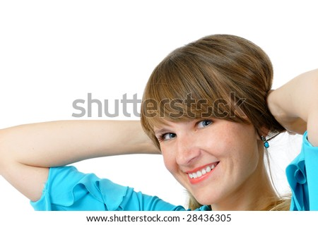 Portrait of attractive pretty smiling girl in blue dress, isolated on white - stock photo