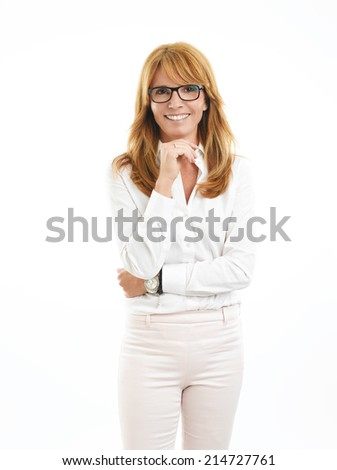 Portrait of attractive sales manager standing against white background. - stock photo