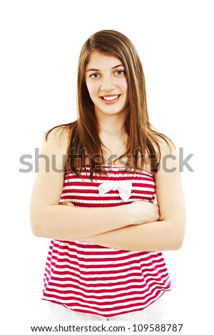 Portrait of attractive smile teenage girl folded hand. Isolated over white background concept of happy student, young pretty woman