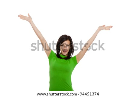 portrait of attractive smile teenage girl holding arms and hands up, isolated over white background concept of happy student, young pretty winning success woman - stock photo