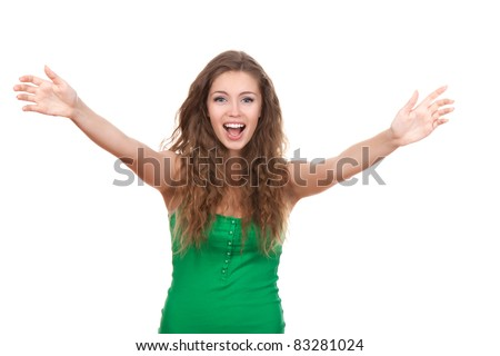 portrait of attractive smile teenage girl raised up arms hands at you, with brown long hair, isolated over white background concept happy student, freedom, young pretty woman asking us to come up hug - stock photo
