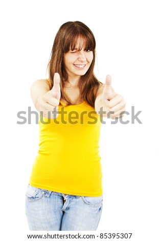 Portrait of attractive smile teenage girl show thumbs up gesture. Isolated over white background - stock photo