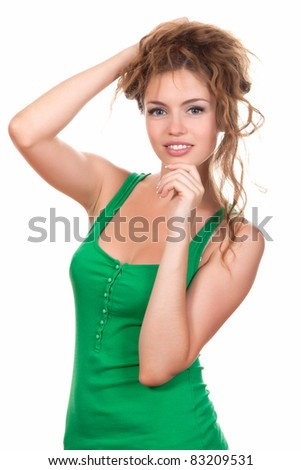 portrait of attractive smile teenage girl wear green shirt, with white teeth, brown long hair, isolated over white background concept of happy student, young pretty woman - stock photo