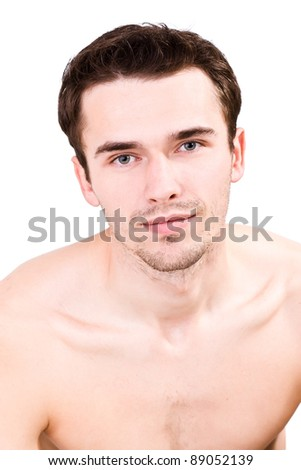 portrait of attractive smiling man, young handsome male model - made in studio on white background - stock photo