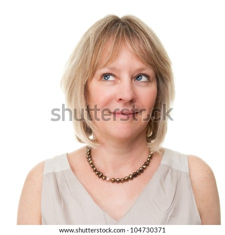 Portrait of Attractive Smiling Mature Woman Looking Upwards Isolated - stock photo