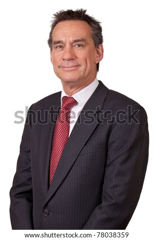 Portrait of Attractive Smiling Middle Age Business Man in Suit - stock photo