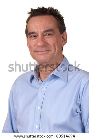 Portrait of Attractive Smiling Middle Age Man in Blue Shirt