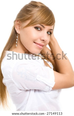 portrait of attractive smiling woman - stock photo