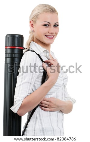 Portrait of attractive student girl - isolated on white background - stock photo