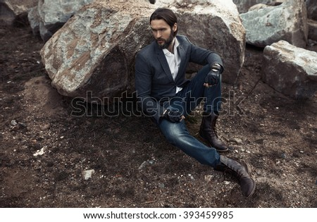 Portrait of attractive stylish man