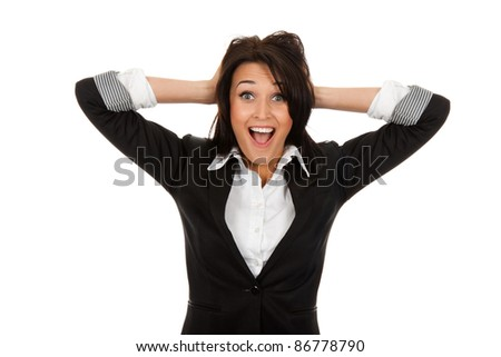 portrait of attractive surprised excited smile business woman hold hands on head, isolated over white background
