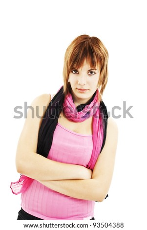 Portrait of attractive teenage girl folded hand. Isolated over white background concept of serious student, young pretty woman - stock photo
