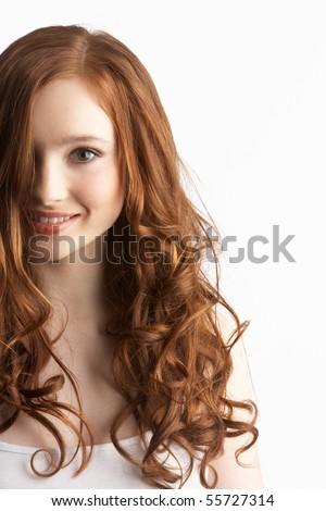 Portrait Of Attractive Teenage Girl In Studio - stock photo