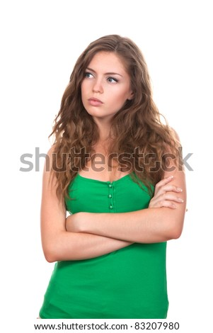 portrait of attractive teenage girl think looking up, folded hands, wear green shirt, brown long hair, isolated over white background concept of pondering thoughtful student, young pretty woman - stock photo