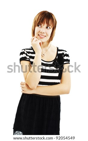 Portrait of attractive teenage girl think looking up. Isolated on white backgroun - stock photo