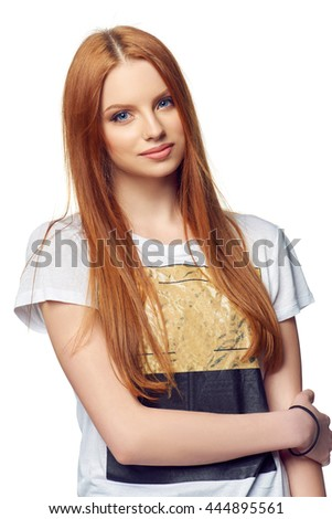 Portrait of attractive teenager girl smiling looking at camera, over white - stock photo
