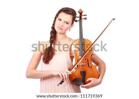 Portrait of attractive violinist isolated on white - stock photo