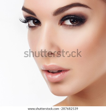 Portrait of attractive woman close-up, concept of beauty and health - stock photo