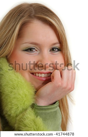 Portrait of attractive woman, happy and smiling. - stock photo