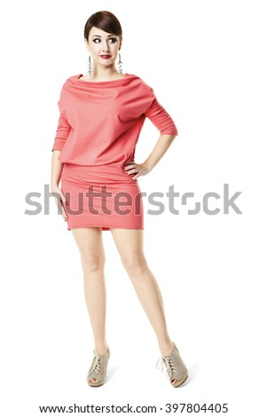 Portrait of attractive woman in red dress. Isolated on white background.  - stock photo