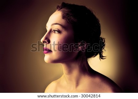 portrait of attractive woman isolated - stock photo