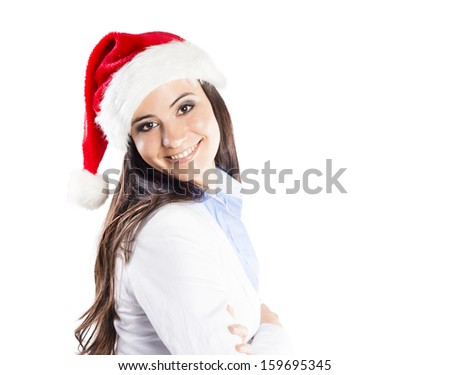 Portrait of attractive woman isolated on white backgroud with christmas hat