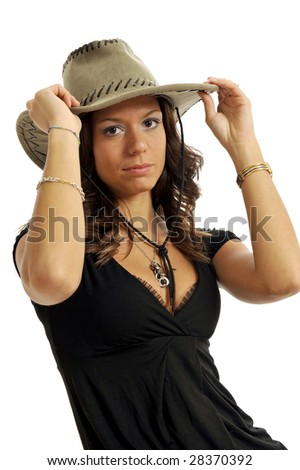 Portrait of attractive woman wearing cowboy hat. Isolated on white background. - stock photo