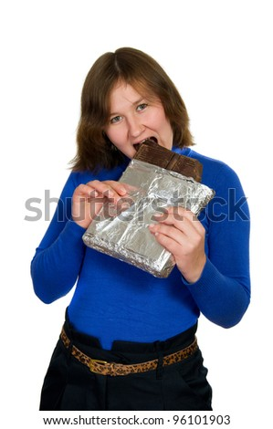 portrait of attractive woman with big chocolate