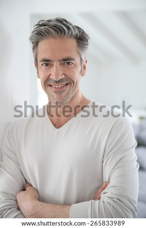 Portrait of attractive 50-year-old man - stock photo