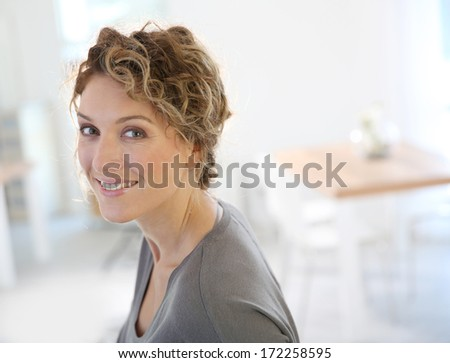 Portrait of attractive 35-year-old woman - stock photo
