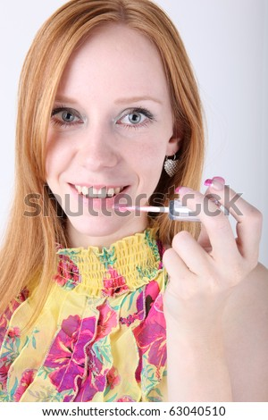 Portrait of attractive young adult woman, make up