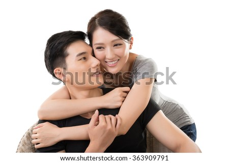 portrait of attractive young Asian couple - stock photo