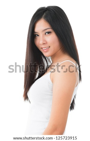 Portrait of attractive young Asian girl over white background