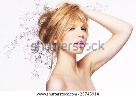 Portrait of attractive young blonde girl on white background - stock photo