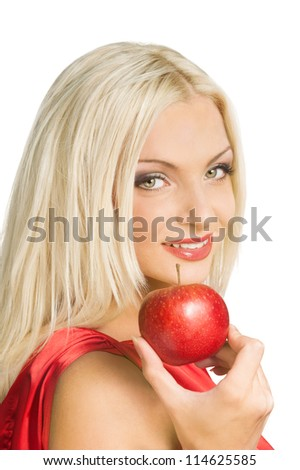 Portrait of attractive young lady with red apple isolated on white background