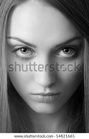 Portrait of attractive young woman bw image - stock photo