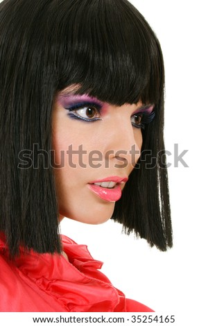 Portrait of attractive young woman with creative make-up - stock photo