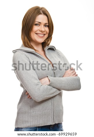 Portrait of attractive young woman  with  hands folded against white background