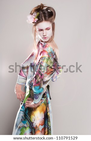 Portrait of attractive young women in asian style with flash - stock photo