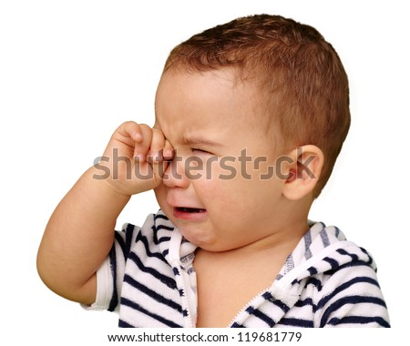 Portrait Of Baby Boy Crying Isolated On White Background - stock photo